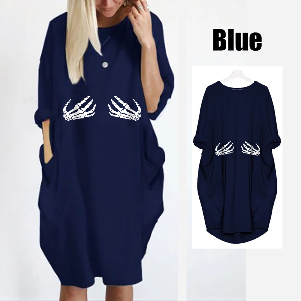 Women 39 s Summer Dress Plus Size Pocket Dress O neck Full Sleeve Casual Knee Length Loose Style Dress Vestidos Sexy in Dresses from Women 39 s Clothing