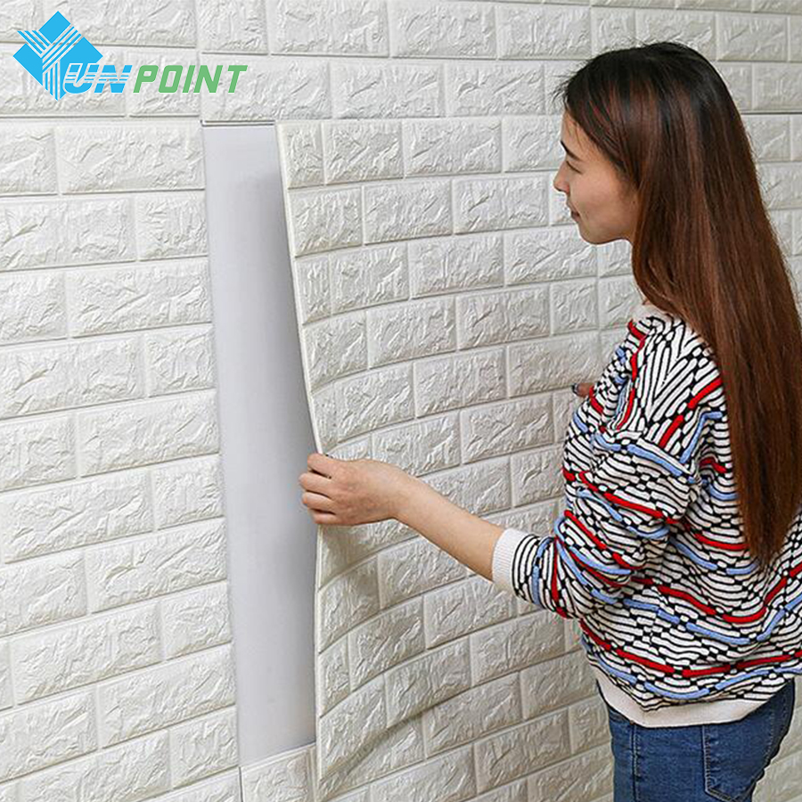 Pe foam diy self adhensive 3d wall stickers brick for Waterproof wallpaper for home