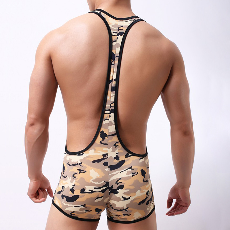 5208fdd407 2019 Camouflage Bodysuit Men Camo Boxers Underwear Shorts Sexy Body ...