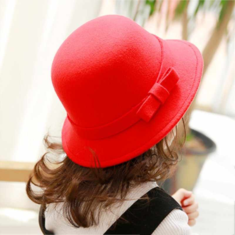 b4b6f3b1ed099d ... Seioum new Vintage Retro Kids Child Boy Girl Hats Fedora polyester Felt  Crushable Wide Brim Cloche ...
