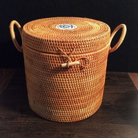 Vietnam Rattan Woven blue & white porcelain tea tin handmade Puer tea cakes box Packaging gift boxes food container storage box
