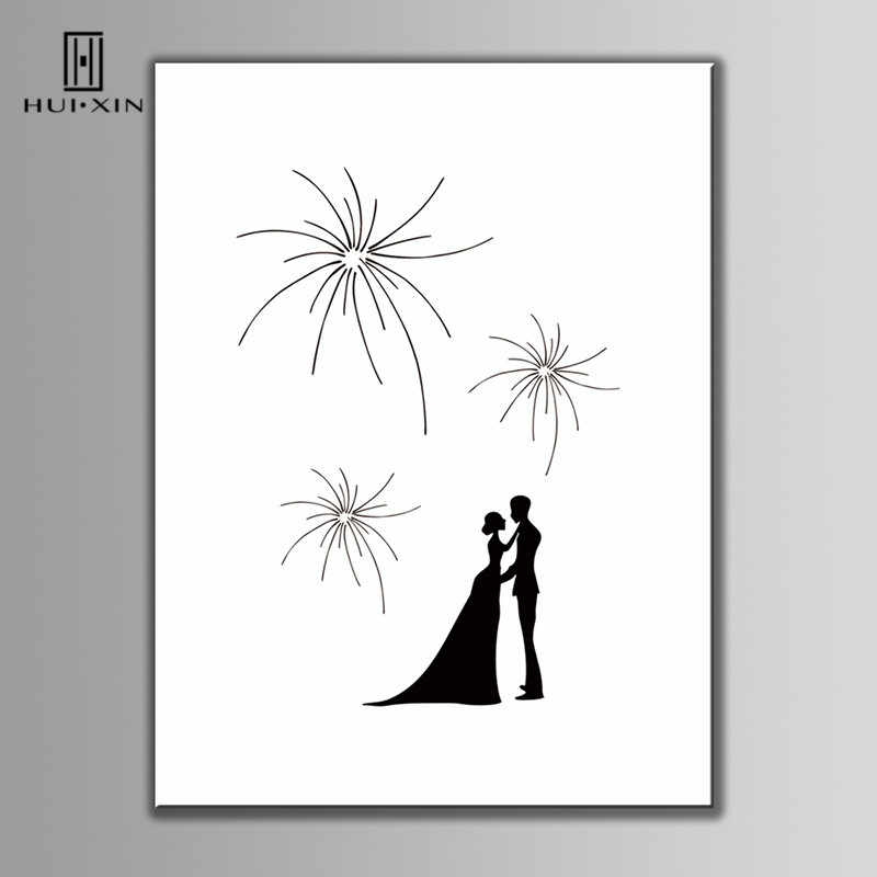Under the Fireworks Bride Groom Look Into Each Other's Eyes Canvas DIY Fingerprint Guest Book Free Name Date For Wedding Decor