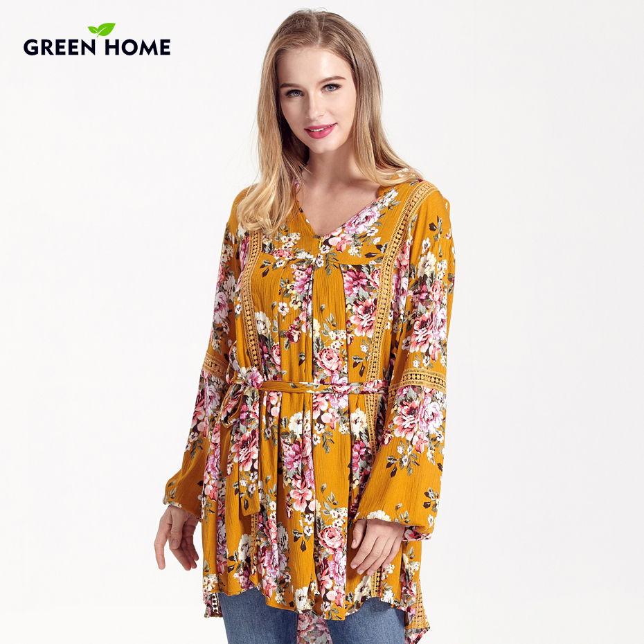 Green Home New Bohemian Floral Maternity Nursing Dress Winter Drape Pregnancy Feeding Dresses Asymmetry Breastfeeding Clothing цены