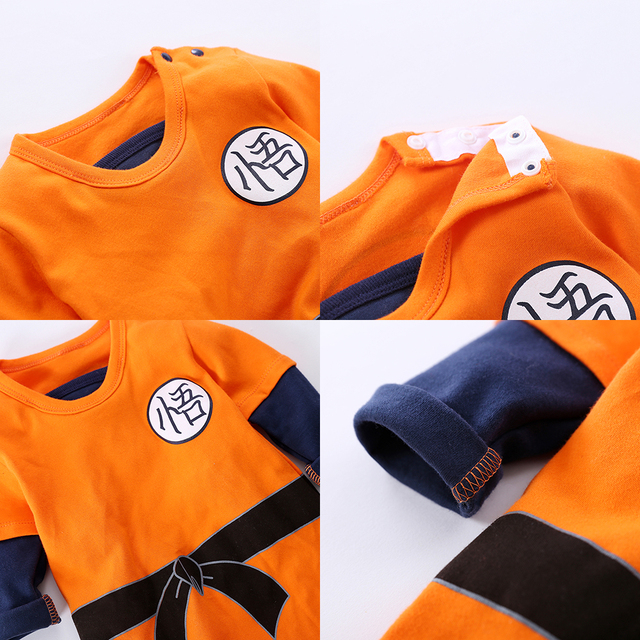 YiErYing Baby Clothing Baby rompers 100% Cotton Dragon Ball Sun Goku Long and Short Sleeve Baby Jumpsuits Baby Boy Girl Clothes 4