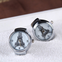 New Fashion Eiffel Tower Ladies Finger Watch Ring Watches Stainless Steel Case Rings Quartz Saat Simple Style Female Ring