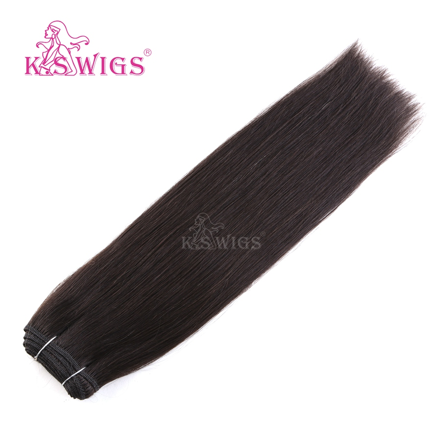 K.S WIGS 16'' 100g/pc Double Drawn Hair Weave Bundles Straight Remy Human Hair Weft 1B#