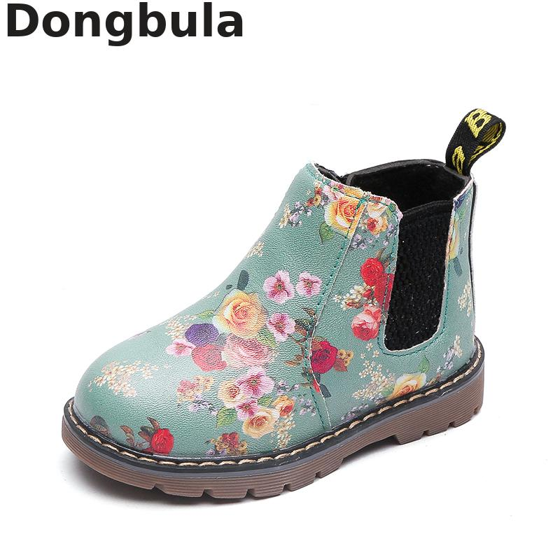Children Ankle Boots Autumn Winter Kids Boots For Floral Print Fashion Baby Girls Martin Boots Plush Warm Pu Leather Boys Shoes