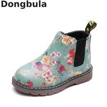 Детские полуботинки осень зима дети сапоги и ботинки для девочек цветочный принт модные детские обувь martin плюшевые теплые из искусственной кож