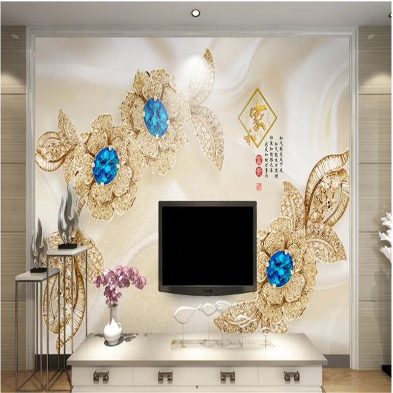 beibehang large fresco European aesthetic 3d 3d blue gem flower jewelry background wall nonwovens wallpaper papel de parede