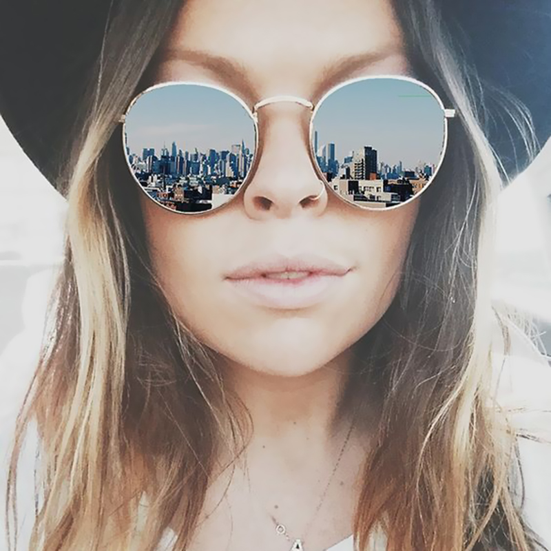 High Quality Round font b Sunglasses b font Women Brand Designer Summer Style Points Sun Glasses