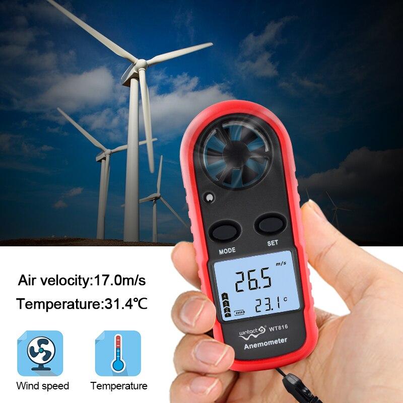 Анемометры, ручной измеритель скорости ветра, портативные манометры, термометр воздушного потока с ЖК-подсветкой для виндсерфинга, Kiteflying