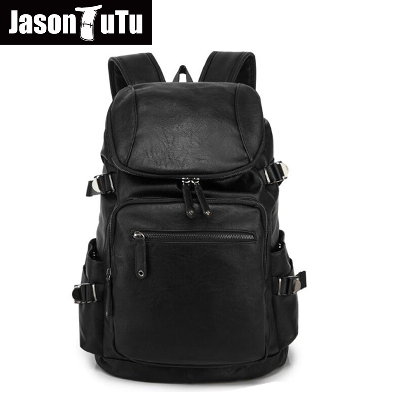 2016 school backpack Men Leather Travel Bag Vintage Mountaineering Bag School Laptop Backpack Brown/black mochila B135 dy0606 ladies bag 15inch women backpack suit for 14 15 notebook laptop bag student school bag travel mountaineering bag