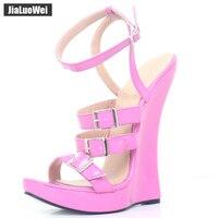 Jialuowei Brand New Women Sandals 18CM Super High Heel Wedge Sole Platform Sexy Fetish Ankle Strap