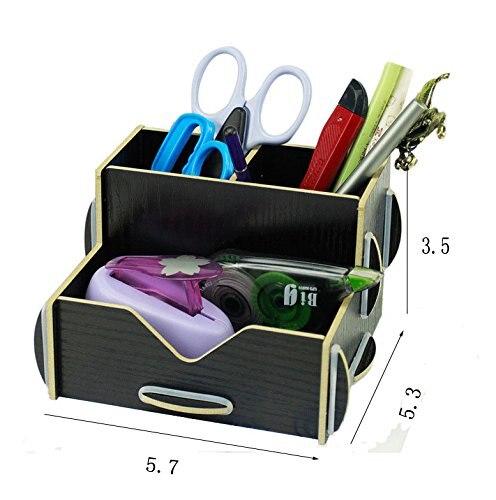2 pcs black wood diy desk organizer pen pencil storage holder for home office 2 amazing diy home office desk 2 black