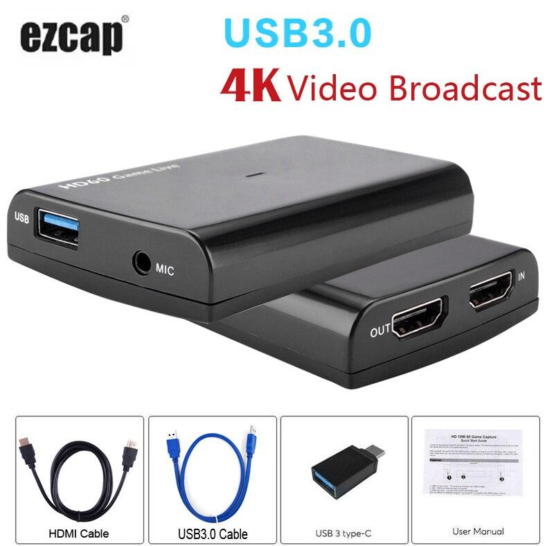 HDMI Jeu carte de capture avec Mic, HD 1080 P 60fps Enregistrement Vidéo Capture peut Contraction Hitbox Youtube Live Streaming pour PS3 PS4 Xbox