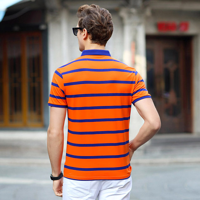 fc72ed1c457 AIRGRACIAS 2017 Summer Mens Polo Shirts Cotton Striped Blue Greeb Orange  Brand Clothing Men Short Sleeve Slim Polos S 1888