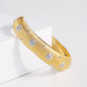 Image 2 - CMajor pulsera de plata de ley con estrellas brillantes, brazalete de lujo, Estilo Vintage, palaciego, 13mm de ancho, dos tonos