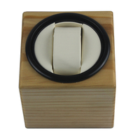 Watch Winder ,LT Wooden Automatic Rotation 1+0 Watch Winder Storage Case Display Box(Outside is pine wood color inside is white)