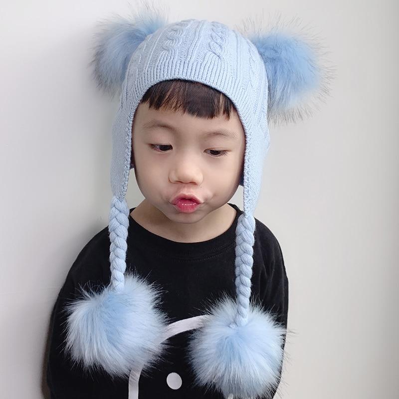 Kids Wool   Beanie   Crochet Earflap Knitted Hat Baby 4 Pieces Fur pompoms   Skullies     Beanies   Winter Hats For Children Girls Boys
