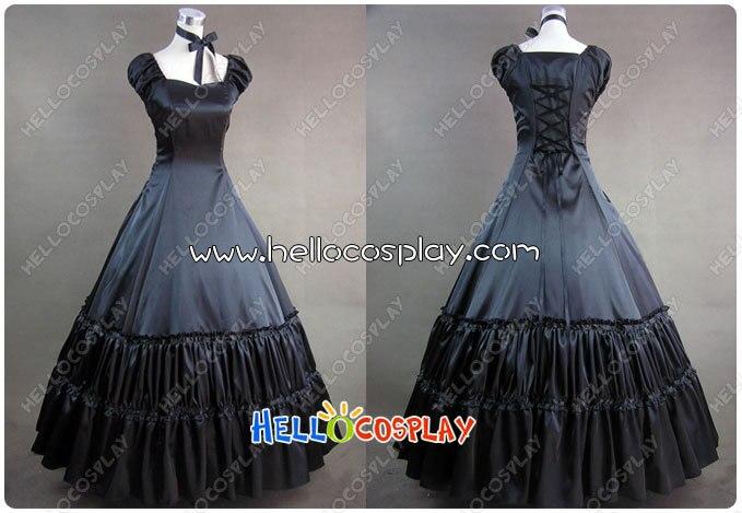 Civil War Gothic Lolita Satin Gown Black Dress Prom H008