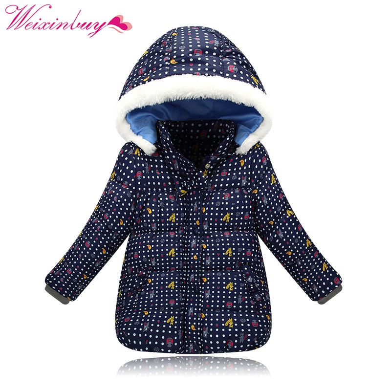 2017 Children Winter Jackets for Girls Warm Down Parkas Hooded Down Coat Cartoon Print Girls Christmas Warm Coats Outerwear 2017 new winter sytle children clothing fashion cartoon print girls down & parkas 1 6y hooded children jackets coats for girls