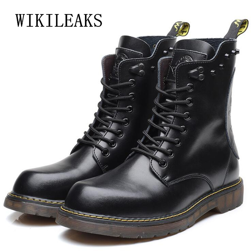 big size genuine leather boots military boots retro motorcycle boots skull rivets men shoes outdoors ankle boots chaussure homme