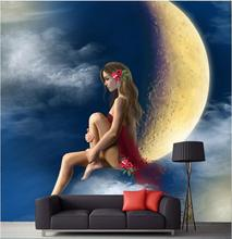 Custom photo 3d room wallpaper Non-woven Sexy belle stars the moon decoration painting 3d wall murals wallpaper for walls 3 d