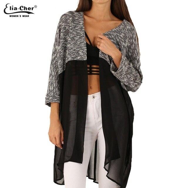 Длинный кардиган женщины свитер шик леди зимние вязаные кардиганы топы Eliacher марка Большой размер свободного покроя женщин трикотажные свитера