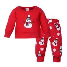 31201ac6516cc3b Красные зимние милые комплект детской одежды теплые Обувь для мальчиков  девочек нового года топы и штаны маленький Снеговик прин.