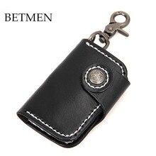 BETMEN Echtem Leder Männer Schlüsselhalter Brieftasche Pflanzlich Gegerbtem Leder Haushälterin Schlüssel Tasche Tasche Geldbörse