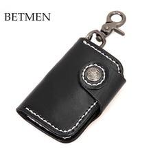 BETMEN Genuine Leather Men Key Holder Wallet Vegetable Tanned Leather Housekeeper Keys Case Bag Pouch Purse