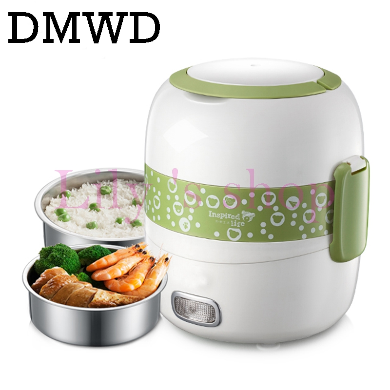 DMWD MINI rice cooker Portable electric heating lunch box heated Rice cooking Warmer 2 layers steaming food container 1.4L EU US dmwd 3 layers electric insulation heating lunch box pluggable steamer electrical rice cooker stainless steel food container eu