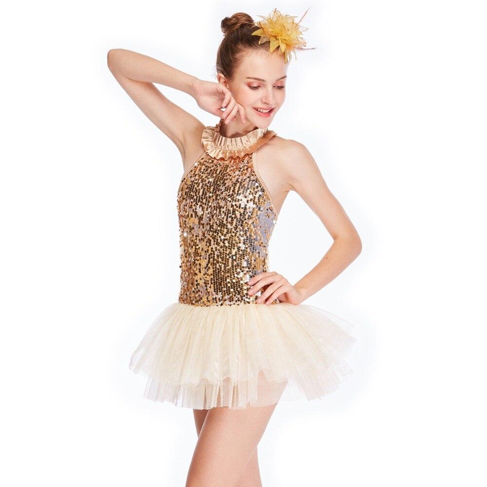 MiDee Halter Neck Tutu Dress Dance Costume Ballet Leotards Contemporary Dancewear Women