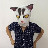Angry White Cat Mask Full Head Animal Costume Cosplay Cat Latex Mask Cartoon Fans Gift Free