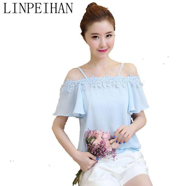 LINPEIHAN fashion 2017 women blouses chiffon blouse short-sleeve shirt women slash neck sexy white lace blouse Summer tops