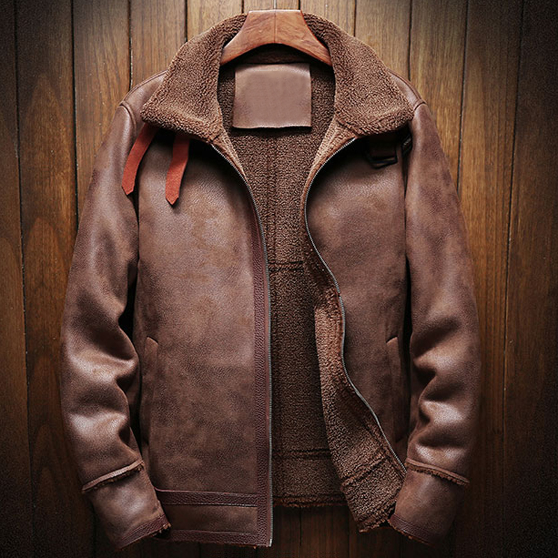 Real de la imagen de piel suave abrigos estilo europeo de gran tamaño 5XL Vintage Hombre de chaquetas de piel abrigo de piel de invierno hombre A174