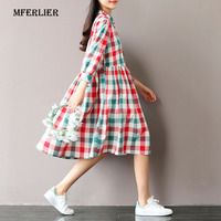 Summer Dress Short Sleeve Turn Down Collar Cotton Linen Dress Plaid Print High Waist Casual Women
