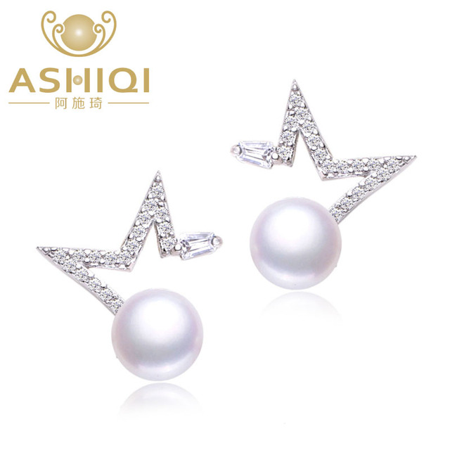 ASHIQI 925 Silver earrings Natural Freshwater Pearl stud Earring For Women Fine Star Sterling Silver Jewelry