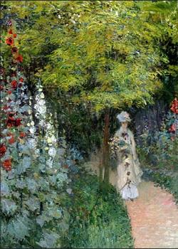 High quality Oil painting Canvas Reproductions The Garden, Hollyhocks (1877) By Claude Monet hand painted