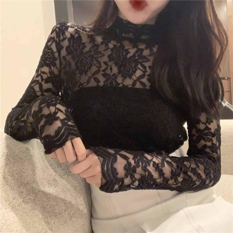 Женские топы и блузки, сексуальная водолазка, кружевная рубашка для женщин, Camisas Mujer, женские топы с длинным рукавом, черно-белая блузка для женщин, C5196