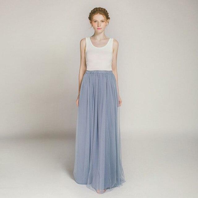 28d3595ac77d48 € 24.3 8% de réduction|Jupe longue en Tulle bon marché sur mesure bleu  poussiéreux 3 couches taille élastique jupes longues en Tulle femmes Saia  ...
