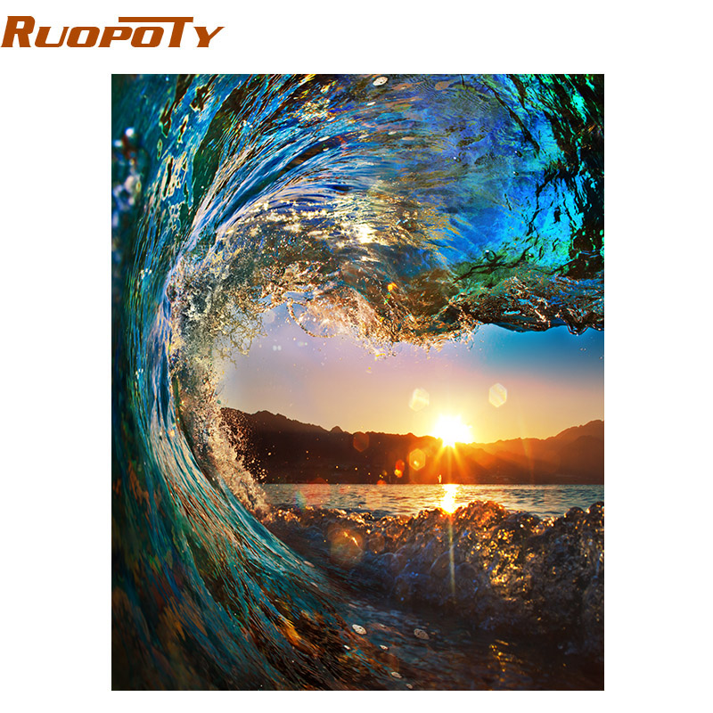 RUOPOTY Frame Sunset Wave Seascape DIY Painting By Numbers Kits Painting Calligraphy Hand Painted Unique Gift For Home Decor