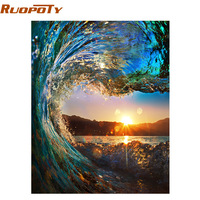 RUOPOTY Frameless Sunset Wave Seascape DIY Painting By Numbers Kits Painting Calligraphy Hand Painted Unique Gift
