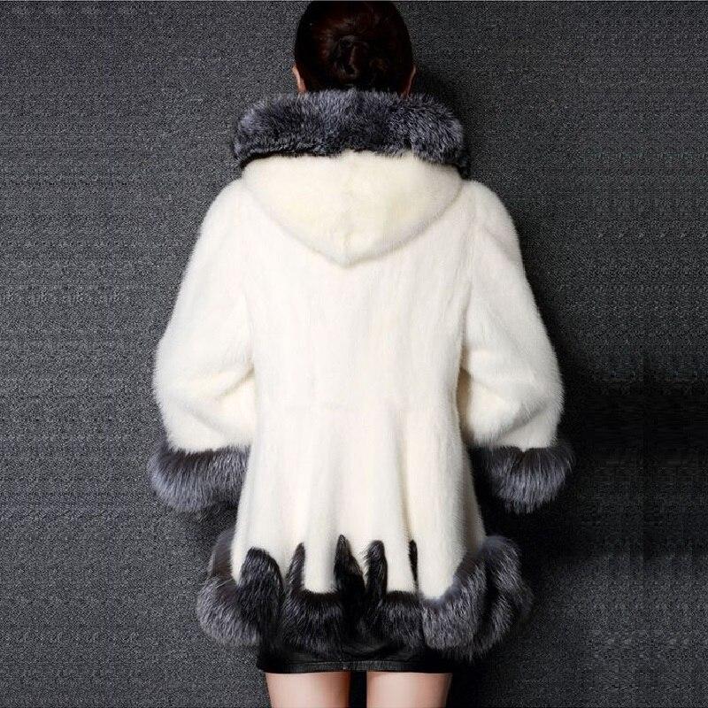 Veste Épaisse Renard En Pardessus D'hiver 2018 De Nouveau Femmes Parka Noir Fourrure Faux Longue Blanc Survêtement Blanc noir Chaud Fausse Manteau 78Ex10q