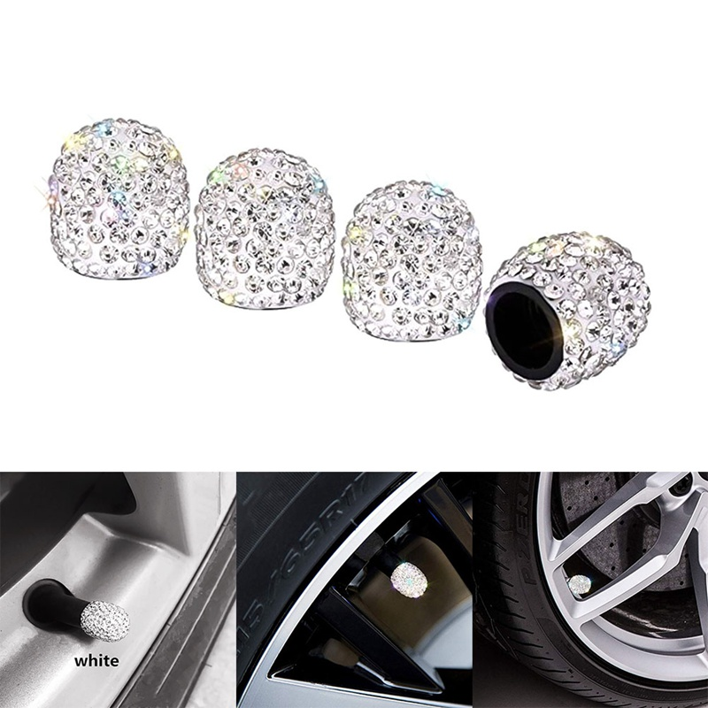 4pcs Crystal Car Tire Valve Caps Diamond Shining Car Accessories For Women Bling Car Charms Automobiles & Motorcycles Electric Vehicle Parts