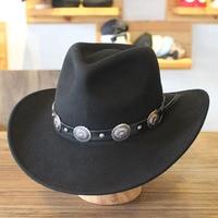 Winter Wide Brim Black Wool Western Cowboy Hats For Men Chapeu Felt Fedora Hats Free Shipping PWFE040