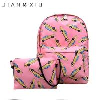 2pcs/set Women Car Printing Backpack Student Book Bag with Small Crossbody Bag Laptop Bagpack Femal Travel Bag for Teenager Girl