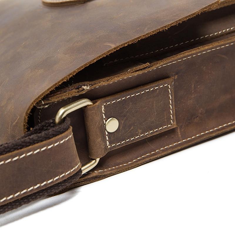 thread crazy horse Genuine Leather Men bags fashion retro Handbag Shoulder Vintage Cow Bag Men Messenger Bags business Briefcase