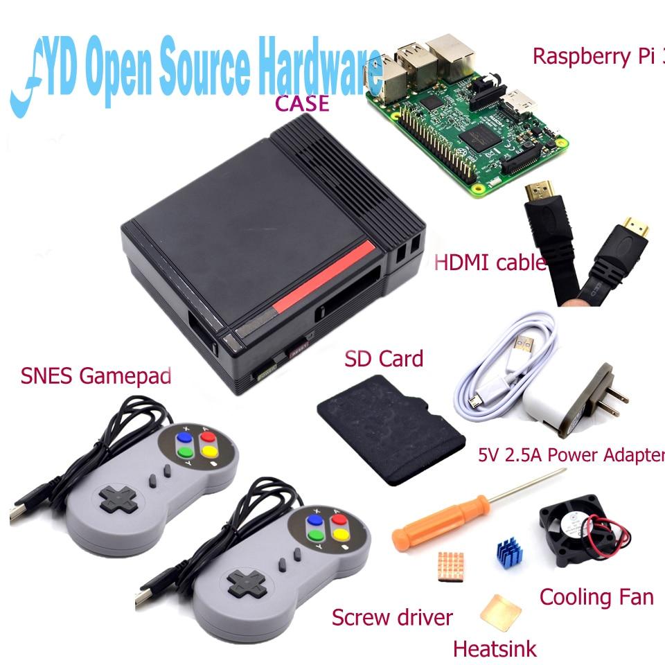 1set NES Case with Raspberry Pi 3 16G Card Fan 2pcs SNES font b Gamepad b