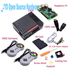 Best price 1set NES Case with Raspberry Pi 3+16G Card+Fan+2pcs SNES Gamepad+Power Adapter+Heatsink+HDMI Cable for RetroPie